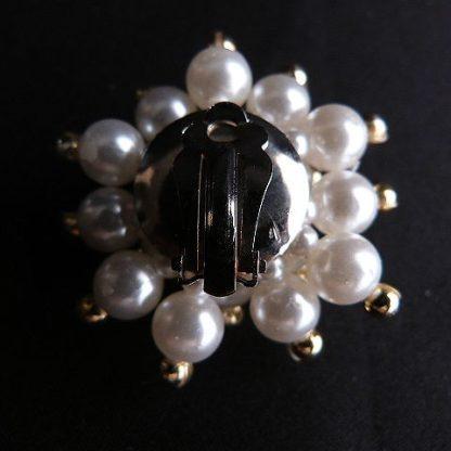 Faux Pearl Gold Tone Bead Clip-On Earrings