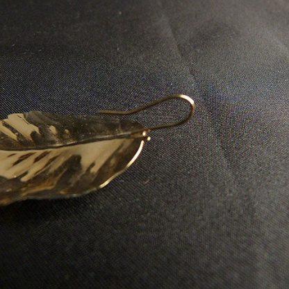 Vintage Gold Tone French Hook Leaf Shape Earrings