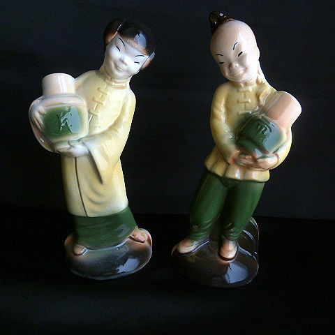 Rare Royal Copley Oriental Girl and Oriental Boy by Spaulding China Company