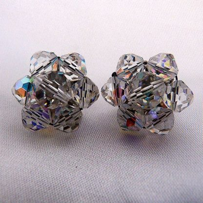 Vintage Clip-On Crystal Cluster Earrings circa 1960's