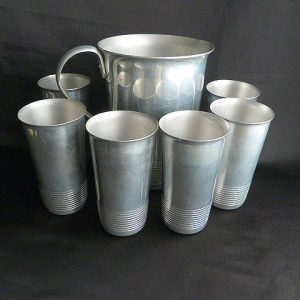 Mid Century Kromex Pitcher and Tumbler Set