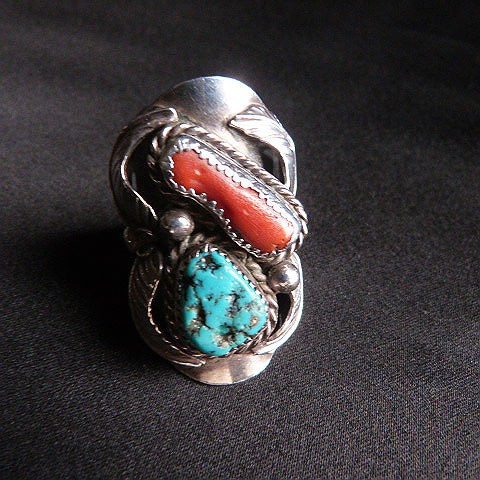 Vintage Coral and Turquoise Ring