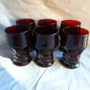 Set of 6 Anchor Hocking Ruby Red Georgian-Honeycomb glasses