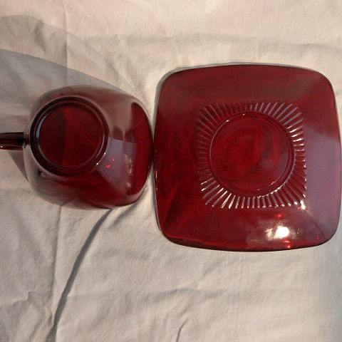 Anchor Hocking Ruby Red Cup and Saucer in the Charm Pattern