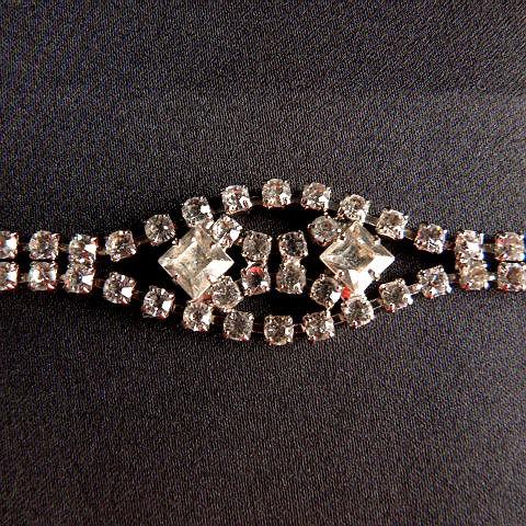 Vintage Silver Tone Rhinestone Bracelet