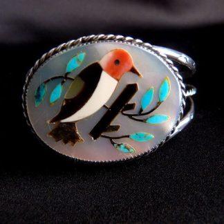 Native American Zuni Cardinal Cuff Inlay Bracelet