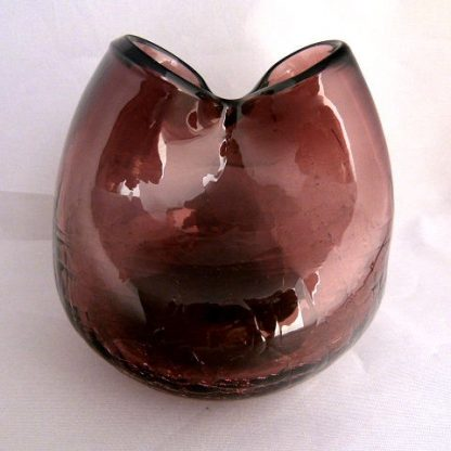 Mid Century Hand Blown Crackle Glass Double Bud Vase