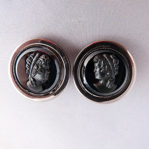 Vintage Black Raised Cameo Clip Earrings