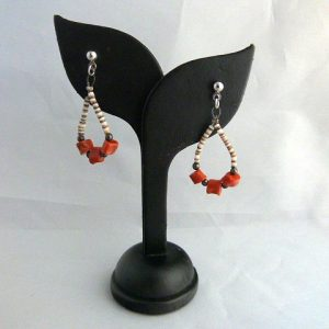 Vintage Shell and Red Coral Hoop Pierced Earrings