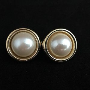 Vintage 1970s Napier Faux Pearl Button Earrings
