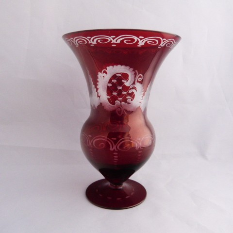 Czech Republic Red Flash Bohemian Vase