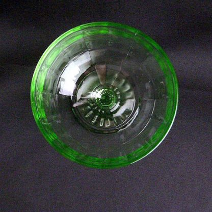 Hocking Glass Stemmed Green Block Optic Sherbet Cup