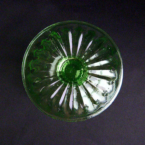 Hocking Glass Stemmed Green Block Optic Sherbet Cup