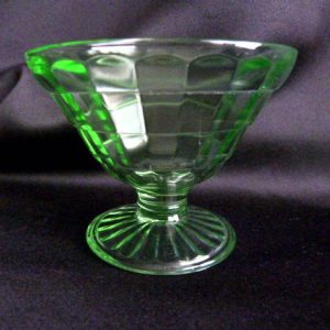 Hocking Glass Green Cone-Shaped Block Optic Sherbet Cup