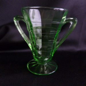 Hocking Glass Green Cone Shaped Block Optic Open Sugar Server