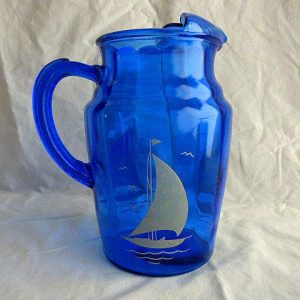 Hazel Atlas White Sailboats Cobalt Pitcher