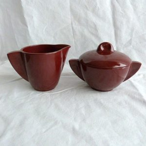 Boontonware Lidded Sugar Bowl and Creamer