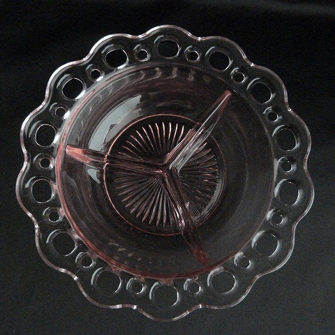 Old Colony Pink 3 part Relish Dish by Hocking Glass Company