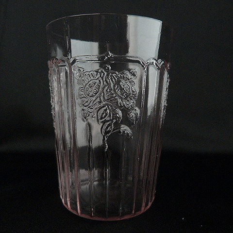 Mayfair Open Rose Pink Glass Tumbler by Hocking Glass