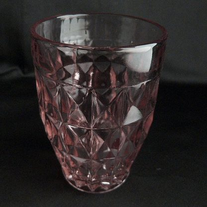Windsor Diamond Pink 12oz Flat Tumbler by Jeannette Glass
