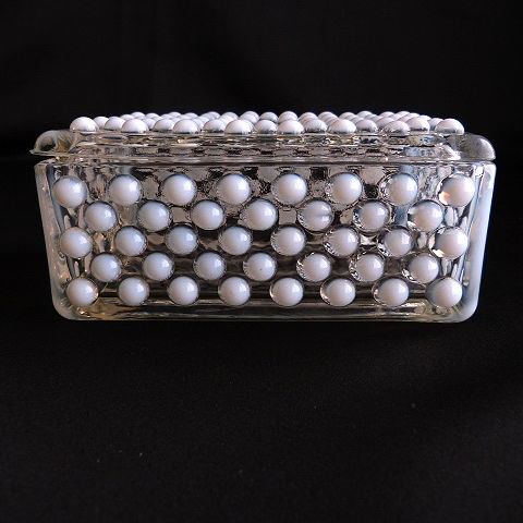 Moonstone Clear Opalescent Cigarette Box/Trinket Box with Lid by Anchor Hocking