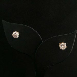 Cubic Zirconia Gold Tone Pierced Stud Earrings