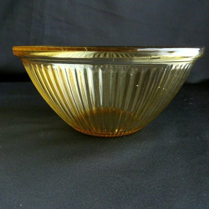 Federal Glass Amber Glass Ribbed Bowl
