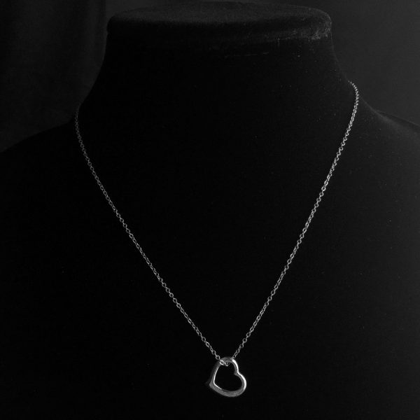 Silver Tone Floating Heart Necklace