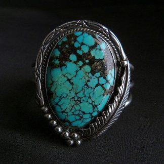 Vintage Navajo Sterling Silver Turquoise Cuff Bracelet