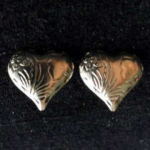 Silvertone Heart Pierced Earrings
