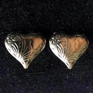 Silvertone Heart Pierced Earrings