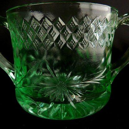 Depression Green Glass Sugar Bowl