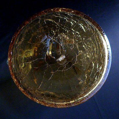 Hand Blown Crackle Amber Glass Pitcher