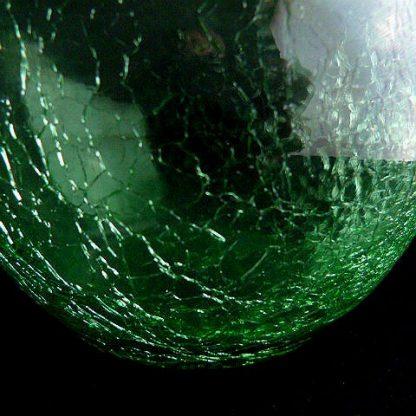 Hand Blown Crackle Green Glass Vase