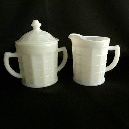 Lidded Milk Glass Sugar Bowl & Creamer