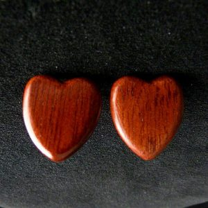 Wood Heart Pierced Earrings