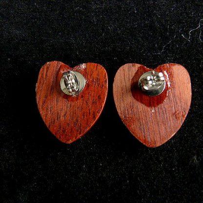 Wood Heart Pierced Earrings