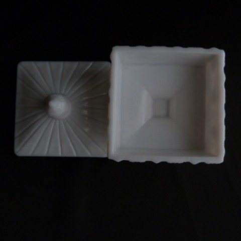 Old Quilt Milk Glass Lidded Candy Dish