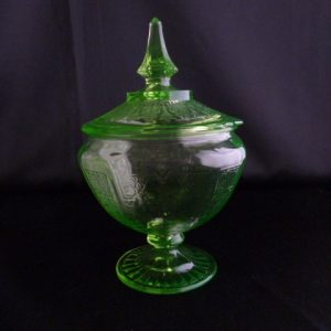 Depression Glass Green Lidded Candy Jar