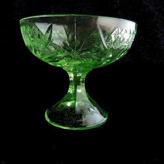 Depression Green Glass Dessert Dish by US Glass