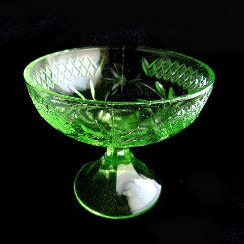 Depression Green Glass Dessert Dish by US Glass
