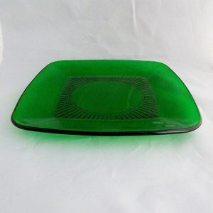 Fire King Charm Square Forest Green Luncheon Plate