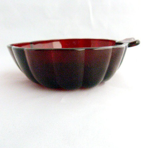 Ruby Red Depression Glass Leaf Dessert Bowl