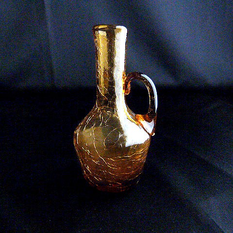 Hand Blown Amber Small Bud Vase