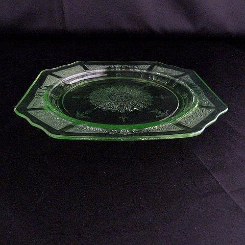 Green Depression Glass Salad Plate