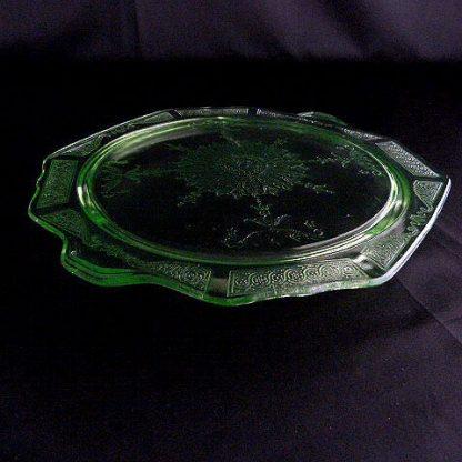 Green Depression Glass Cake Stand