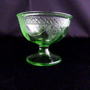 Vintage Green Glass Sherbet Dish