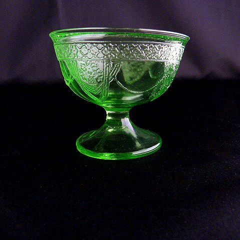 Vintage Green Glass Sherbet Dish