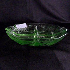 Depression Green Glass Relish Dish