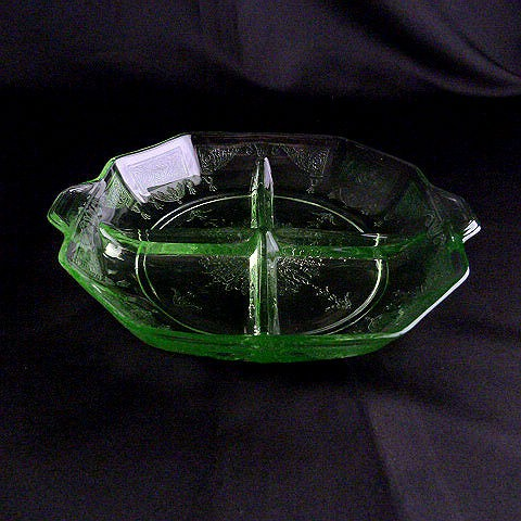 Depression Green Glass Relish Dish